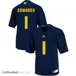 Braylon Edwards UMich Wolverines #1 Youth - Navy Blue Jersey
