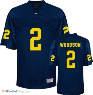 Charles Woodson UMich Wolverines #2 - Navy Blue Jersey