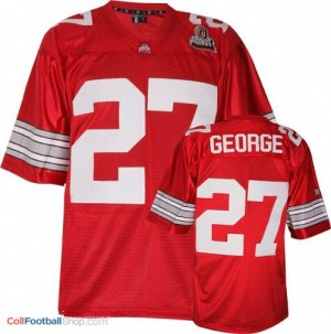 Eddie George OSU Buckeye #27 Youth - Scarlet Red Jersey
