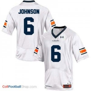 Jeremy Johnson AU Tigers #6 College - White Jersey