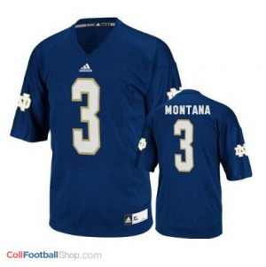 Joe Montana ND Irish #3 - Navy Blue Jersey
