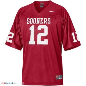 Landry Jones OU Sooner #12 Youth - Crimson Red Jersey