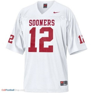 Landry Jones OU Sooner #12 Youth - White Jersey