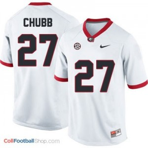 Nick Chubb Georgia Bulldogs #27 - White Jersey