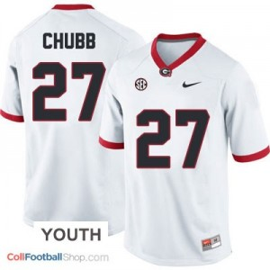 Nick Chubb Georgia Bulldogs #27 - White - Youth Jersey
