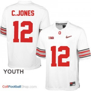 Cardale Jones OSU #12 Diamond Quest Playoff - White - Youth Jersey