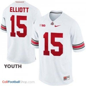 Ezekiel Elliott OSU Buckeye #15 - White - Youth Jersey