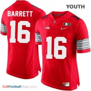 J.T. Barrett OSU #16 Diamond Quest 2015 Patch College - Scarlet - Youth Jersey