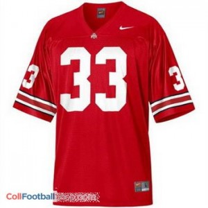 Pete Johnson OSU Buckeye #33 Youth - Scarlet Red Jersey