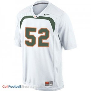 Ray Lewis U of M Hurricanes #52 Youth - White Jersey