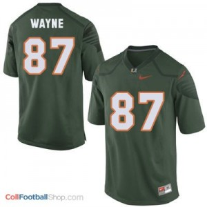 Reggie Wayne U of M Hurricanes #87 Youth - Green Jersey