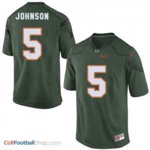 Andre Johnson Miami Hurricanes #5 Youth - Green Jersey