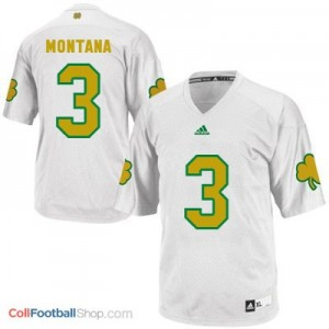 Joe Montana ND Irish #3 Shamrock Series Youth - White Jersey