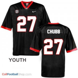 Nick Chubb Georgia Bulldogs #27 - Black - Youth Jersey
