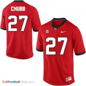 Nick Chubb Georgia Bulldogs #27 - Red Jersey