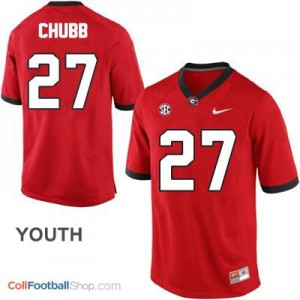 Nick Chubb Georgia Bulldogs #27 - Red - Youth Jersey