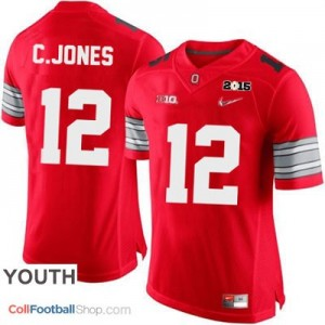 Cardale Jones OSU #12 Diamond Quest 2015 Patch College - Scarlet - Youth Jersey