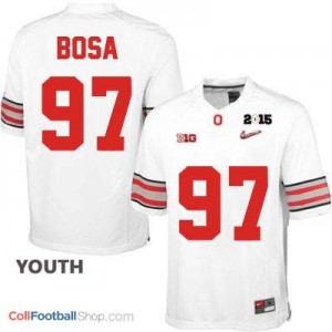 Joey Bosa OSU #97 Diamond Quest 2015 Patch College - White - Youth Jersey