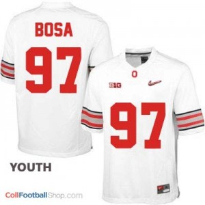 Joey Bosa OSU #97 Diamond Quest Playoff - White - Youth Jersey