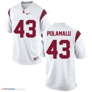 Troy Polamalu USC Trojans #43 Youth - White Jersey
